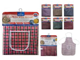 144 Units of Apron Checkered - Kitchen Aprons