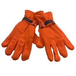 24 Units of Men's Orange Fleece Gloves - Fleece Gloves