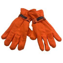 24 Units of Men's Orange Fleece Gloves - Fleece Gloves