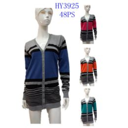 24 Units of Ladies Stripe Long Cardigan - Womens Sweaters & Cardigan