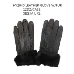 48 Units of Leather Winter Gloves With Fur - Leather Gloves