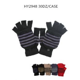 60 Units of Unisex Winter Striped Finger Gloves With Cover - Knitted Stretch Gloves