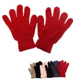 60 Units of Ladies Solid Color Winter Chenille Gloves - Knitted Stretch Gloves