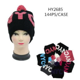 72 Units of Ladies Printed Nyc Winter Hats - Winter Hats