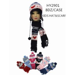 96 Units of Kids Hat With Scarf - Winter Sets Scarves , Hats & Gloves