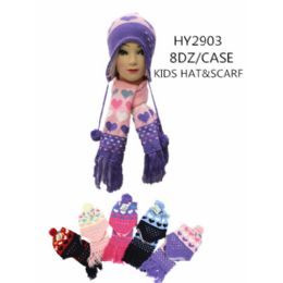 48 Units of Kids Hat And Scarf 2 Pc Set - Winter Sets Scarves , Hats & Gloves