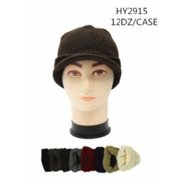 72 Units of Solid Color Winter Hats With Visor - Winter Hats