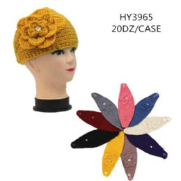 60 Units of Ladies Fashion Winter Head Band With Flower - Headbands