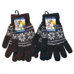 36 Units of Winter Knit Glove Snowflake - Knitted Stretch Gloves
