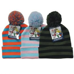 36 Units of Winter Kid's Pom Pom Hat Stripe - Junior / Kids Winter Hats