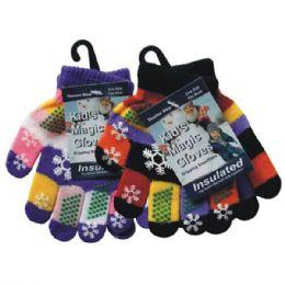 120 Units of WINTER Kids Magic Glove w/ Snowflake - Kids Winter Gloves