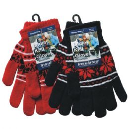 36 Units of Winter Ladies Knit Glove Snowflake - Knitted Stretch Gloves