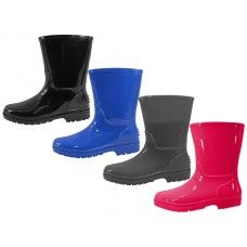 24 Units of Children's Water Proof Plain Rubber Rain Boots - Toddler Footwear