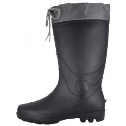 12 Units of Men's 13 1/2 Inches Water Proof Soft Rubber Rain Boots With Nylon Tie Upper - Men's Work Boots