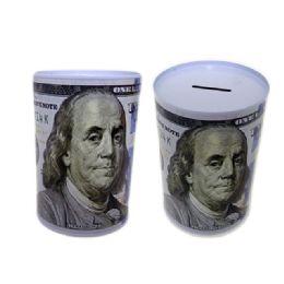 "48 Units of Coin Bank, Saving Tin, Us $100 Bill, 3.9""dia X 5.9""h - Coin Holders & Banks"