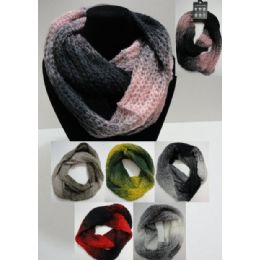 48 Units of Color Fade Knitted Infinity Scarf - Womens Fashion Scarves