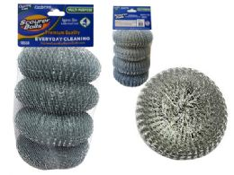 96 Units of 4 Piece Stainless Steel Wire Ball Kitchen Scourer Brush - Scouring Pads & Sponges