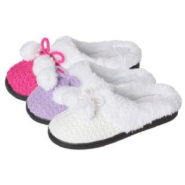 36 Units of Girls Knit Pom Pom Slipper - Girls Slippers