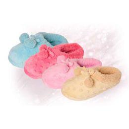 36 Units of Girls Fuzzy Pom Pom Slipper - Girls Slippers
