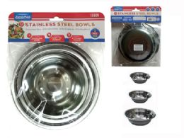 144 Units of 3pc Stainless Steel Bowls - Baking Supplies