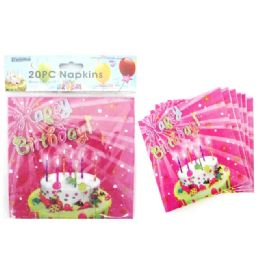 144 Units of Napkins 20 Piece 2 Ply Happy Birthday - Party Paper Goods