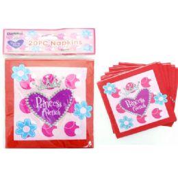 144 Units of 20 Piece Princess Party Napkin - Party Paper Goods