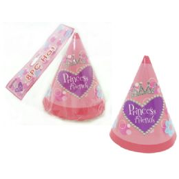 "96 Units of Hats Party 8pc 6.3"" Princess - Party Favors"