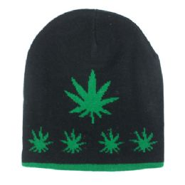 36 Units of Winter Beanie Hats Marijuana Print - Winter Beanie Hats