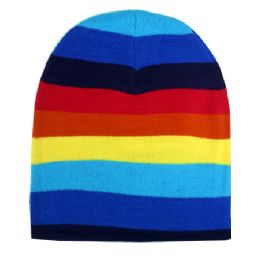 72 Units of Winter Beanie Hat In Rainbow Style - Winter Beanie Hats