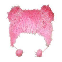 48 Units of Plush Animal Hat In Pink - Winter Animal Hats