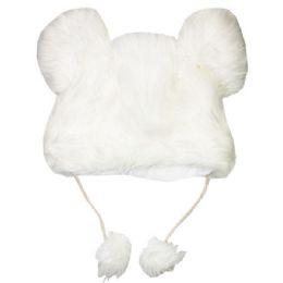 48 Units of White Plush Animal Hat - Winter Animal Hats