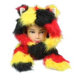 12 Units of Soft Faux Fur Multicolor Animal Hat With Builtin Paws Mittens - Winter Animal Hats