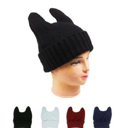72 Units of Solid Color Winter Hats Assorted With Cat Ears - Fashion Winter Hats