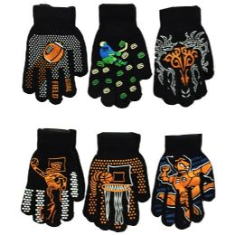 36 Units of Boys Assorted Prints Magic Glove - Knitted Stretch Gloves