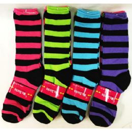 120 Units of Lady's Girls Long Socks with Black Stripes - Womens Crew Sock