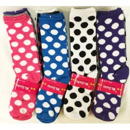 120 Units of Lady's Girls' Long Socks with Polka Dot Designs - Womens Crew Sock