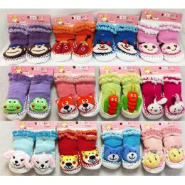 24 Units of Baby Cartoon Animal 3D Double Lined Knitted Socks - Toddler Footwear