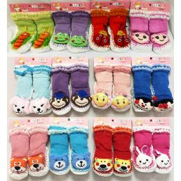36 Units of Baby Cartoon Animal 3D Double Lined Knitted Socks - Toddler Footwear