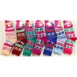 48 Units of Double Layered Knitted Women Girls' Winter Socks - Girls Crew Socks