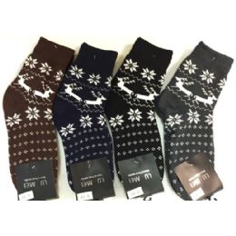 36 Units of Double Layered Knitted Man Winter Socks - Mens Crew Socks