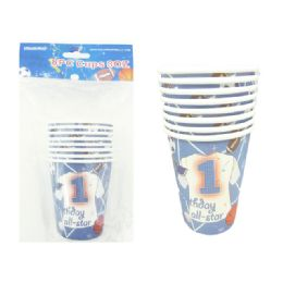 144 Units of Cup 8 Piece Sport Design - Party Paper Goods