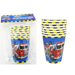 144 Units of Cups 8 Pieces Fire Truck - Party Paper Goods