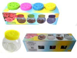 24 Units of Glass Storage Jars 4pcs - Storage Holders and Organizers