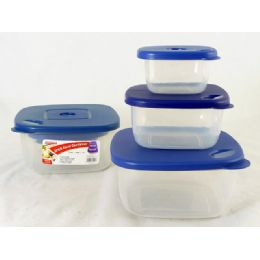 48 Units of 3 Piece Square Food Container - Food Storage Containers