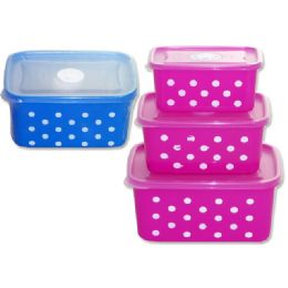 72 Units of Food Container3pc Rectangle Polka Dot - Storage Holders and Organizers