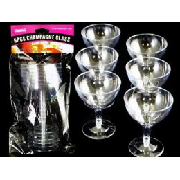 96 Units of 6 Piece Plastic Champagne Glass - Disposable Cups