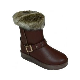 24 Units of Ladies Winter Boot With Buckle On The Side In Coffee  Only - Women's Boots