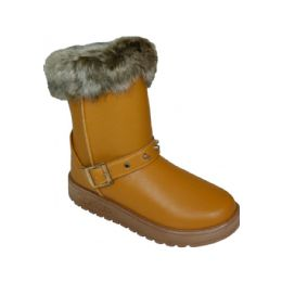24 Units of Ladies Winter Boot With Buckle On The Side In Yellow   Only - Women's Boots