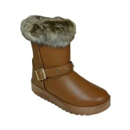 24 Units of Ladies Winter Boot With Buckle On The Side In Khaki  Only - Women's Boots