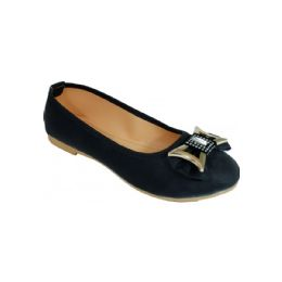 18 Units of Ladies Fashion Flats With Bow In Black - Women's Flats
